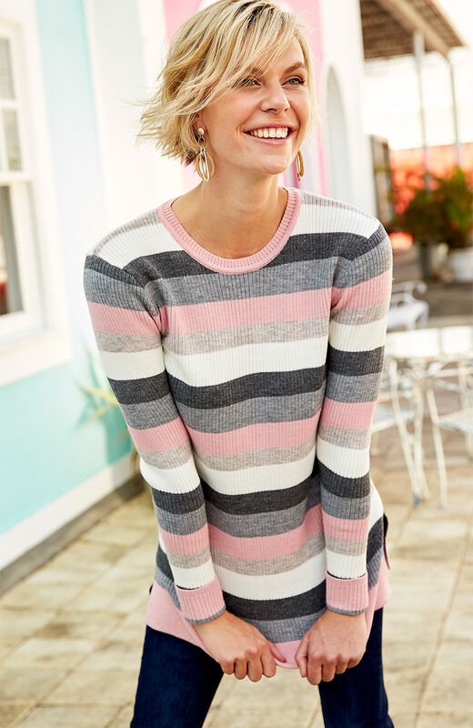 Ready For The Season | Knitted Stripe Tunic | By Cotton Traders