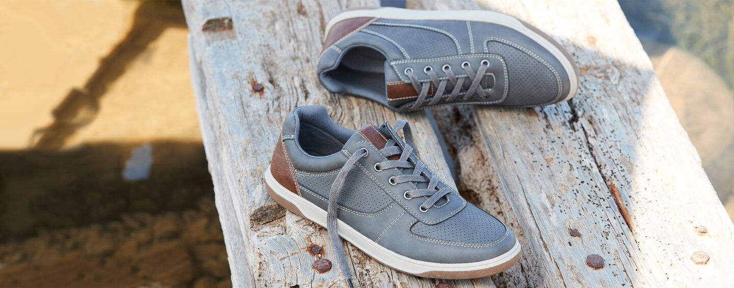 Men's Collection | Cushioned Lace-up Trainers | By Cotton Traders