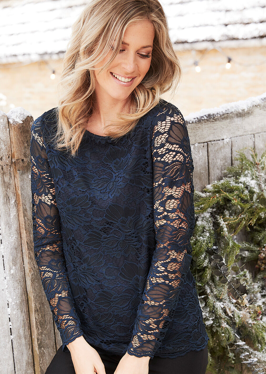 Partywear | Navy Stretch Lace Top | By Cotton Traders