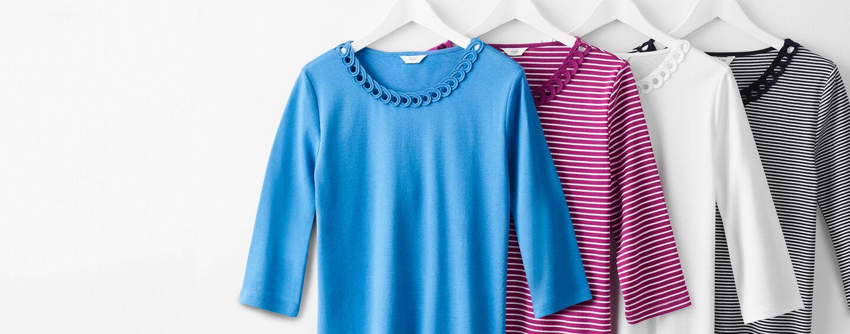 Wear Today Layer Tomorrow Inspirations | Cornelli Trim Plain Top | Cornelli Trim Stripe Top | By Cotton Traders