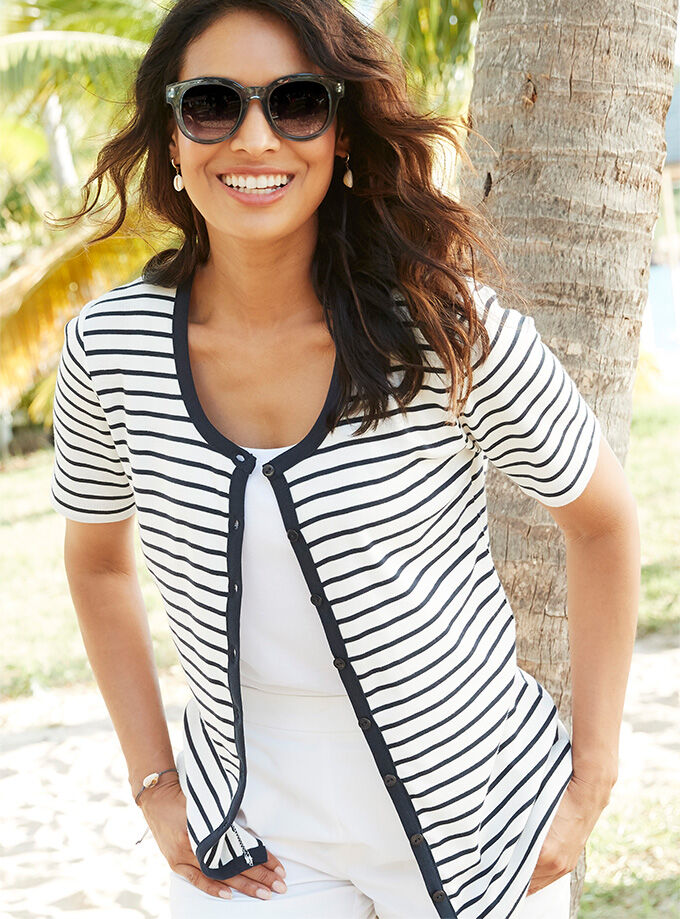 Comfort Collection Inspiration | Wrinkle Free Stripe Cardigan | By Cotton Traders
