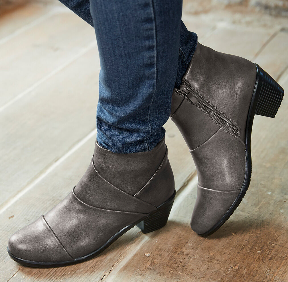 Fall Footwear | Pleat Detail Ankle Boots | By Cotton Traders
