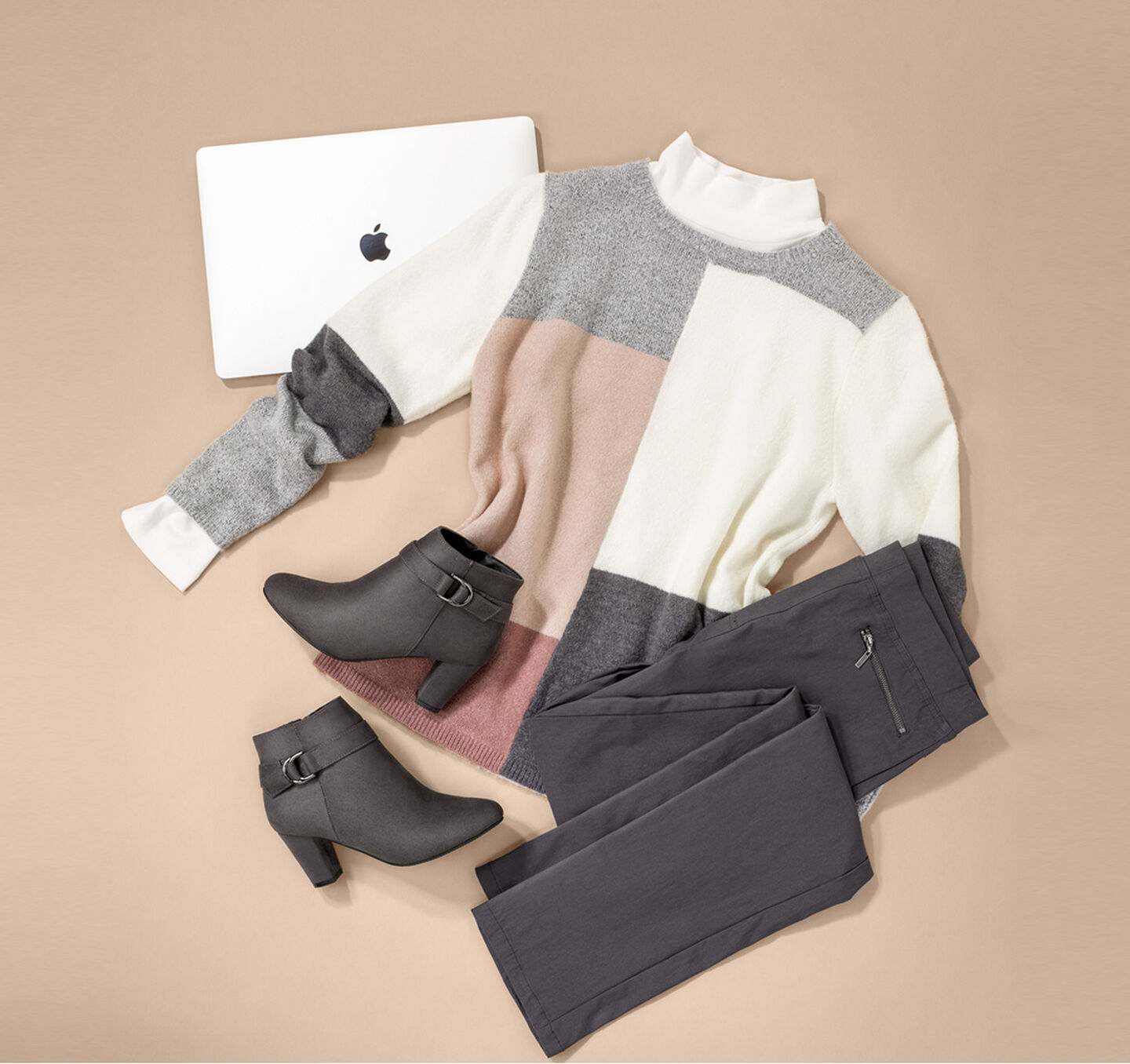 The Colourblock Jumper | Colourblock Colourblock Jumper | Super Stretchy Pull-on Trousers | Comfort Heeled Boots | By Cotton Traders