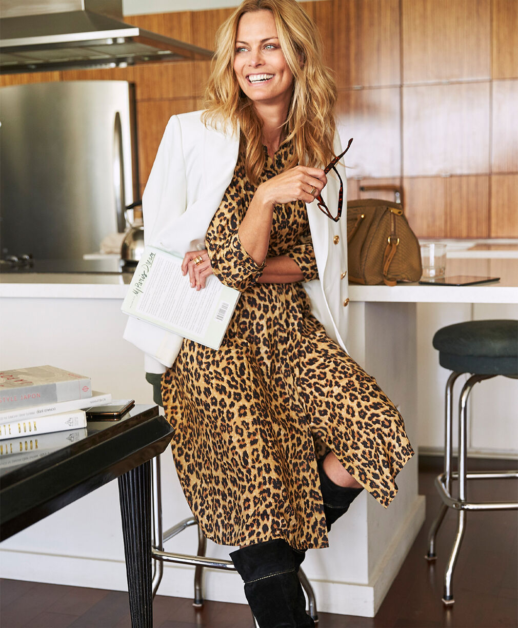 The Friday Blazer | The Friday Blazer | Leopard Print Button-through Long Printed Dress | By Cotton Traders