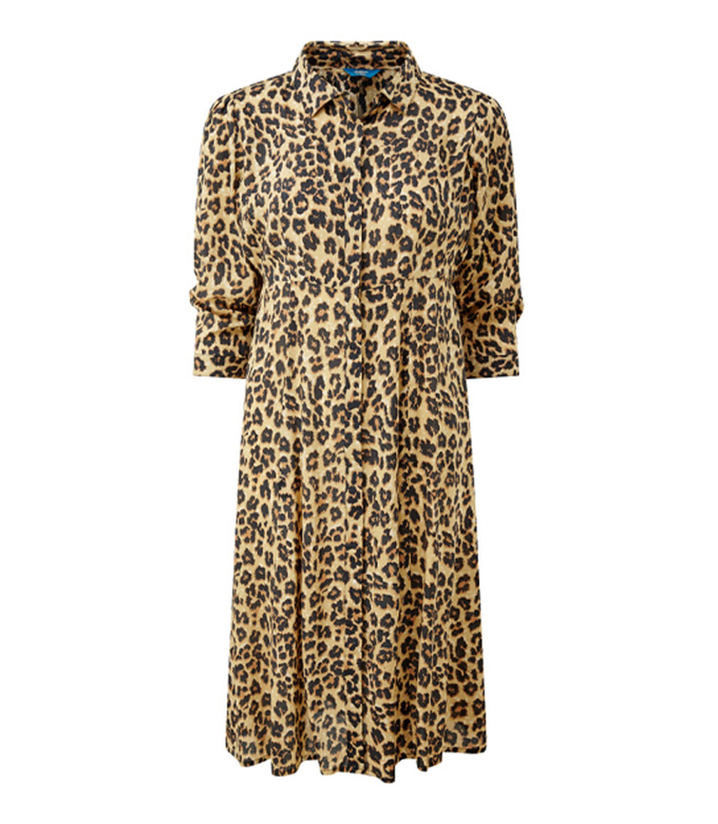 The Friday Blazer | Leopard Print Button-through Long Printed Dress | By Cotton Traders