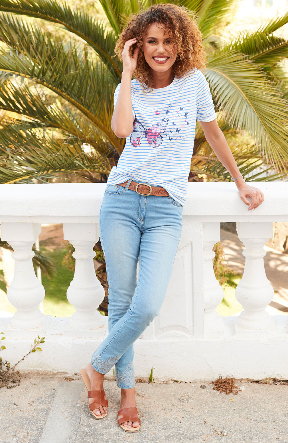 The Spring Collection | Butterfly Stripe Print Top | Women's Denim Stretch Jeans | By Cotton Traders