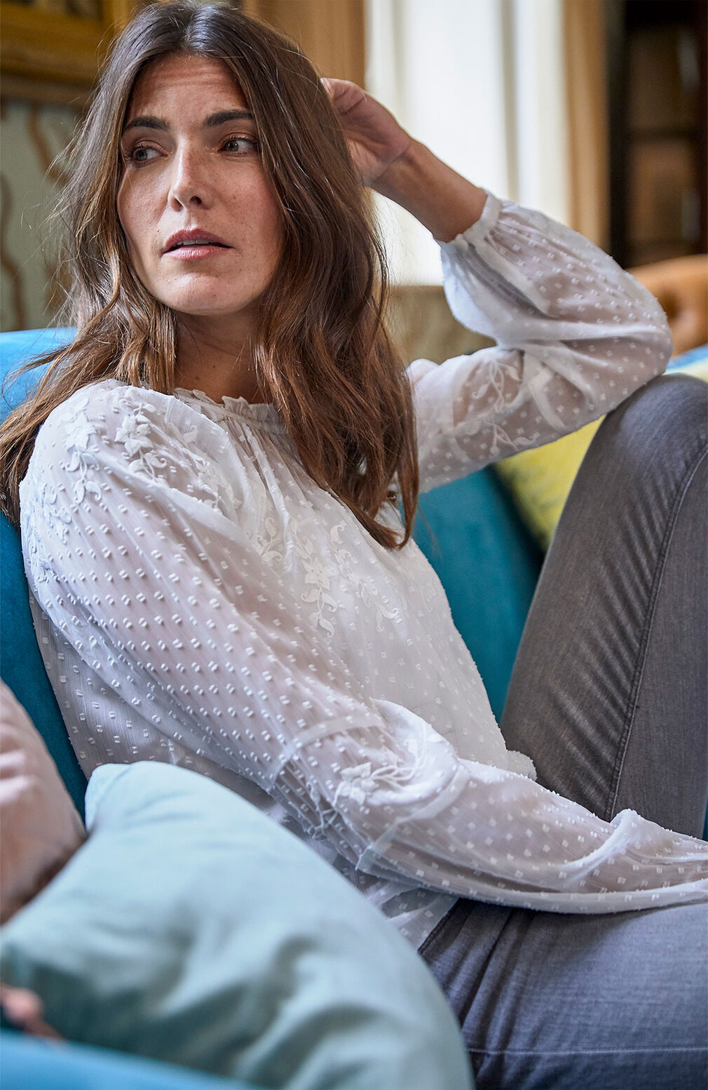 The Blissful Blouse | Embroidered Long Sleeve Blissful Blouse | By Cotton Traders