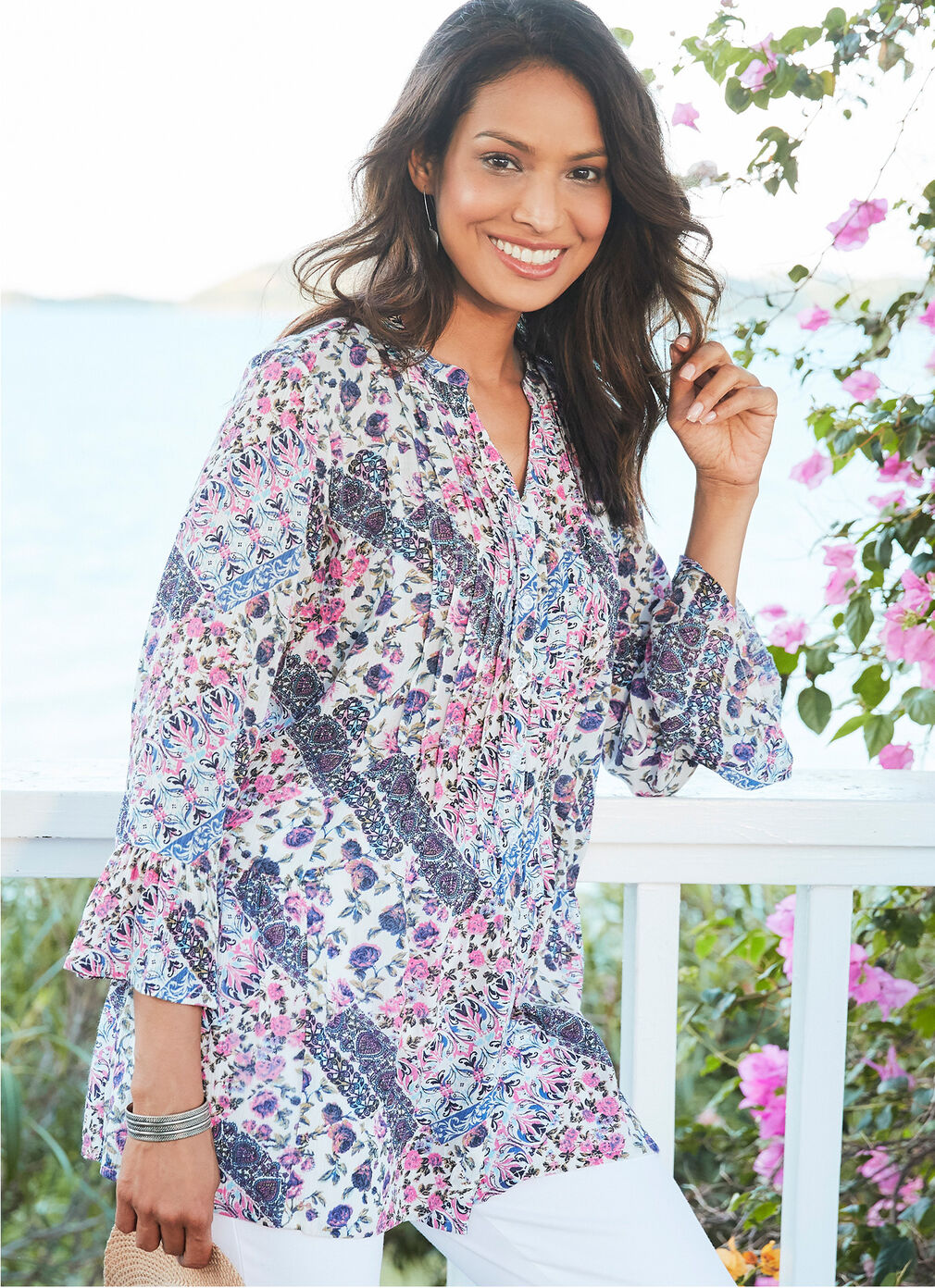 Comfort Collection Inspirations | Print Crinkle Tunic | By Cotton Traders
