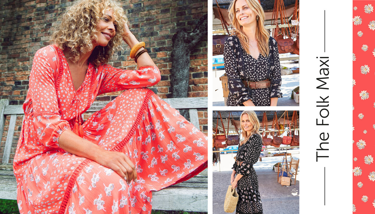 Spring Dresses Inspirations | Floral Folk Maxi Dress | By Cotton Traders