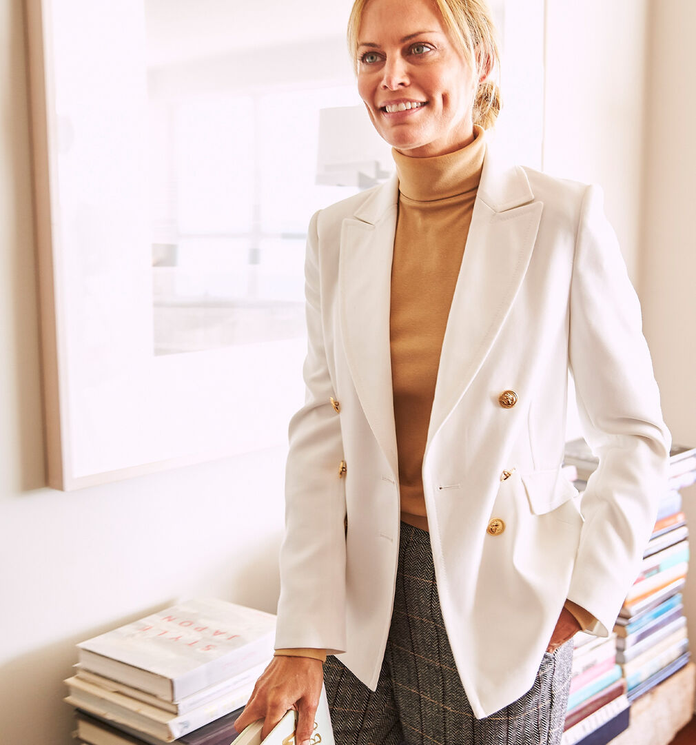 The Friday Blazer | The Friday Blazer | Roll Neck Top | Side Elasticated Waist Trousers | By Cotton Traders
