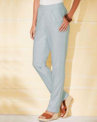Flat Front Linen Blend Pants