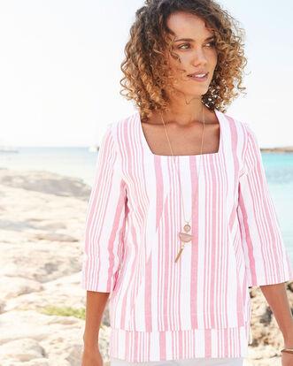 Vintage Rose Linen-blend Stripe Top