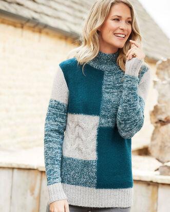 Dark Teal Patchwork Sweater