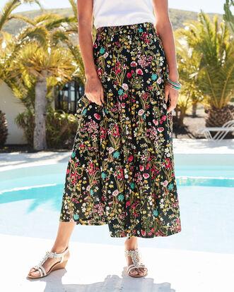 Navy Tiered Maxi Skirt
