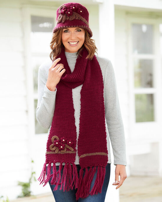 83ec950b1b5 Knitted Flower Hat and Scarf Set at Cotton Traders