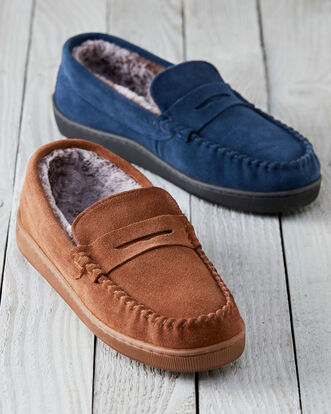 Fur Lined Suede Slippers