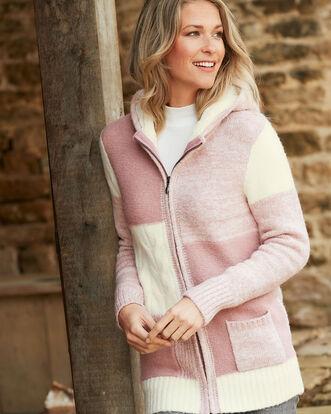 Dusky Pink Hooded Patchwork Cardigan