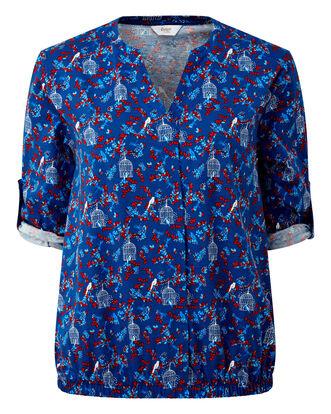 Blue Elastic Hem Jersey Blouse