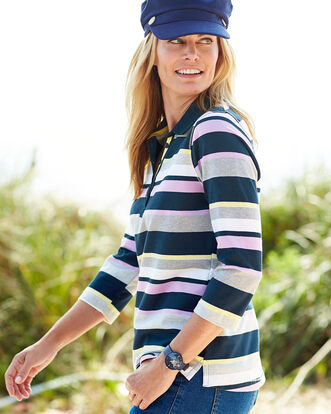 Pastel Button Neck Stripe Polo Shirt