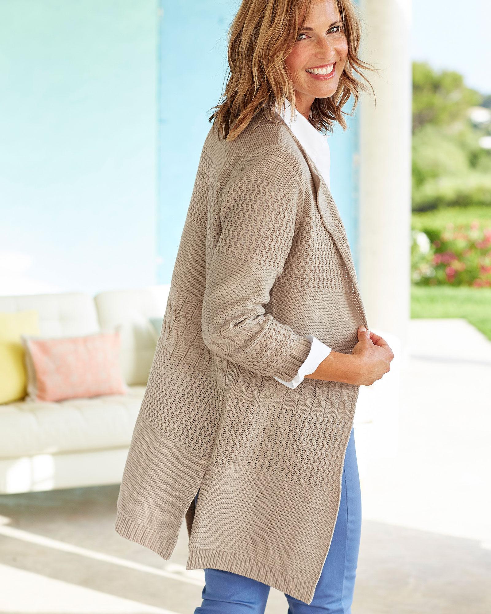 Cotton Traders Womens Ladies Long Sleeve Longline Cardigan Knitwear