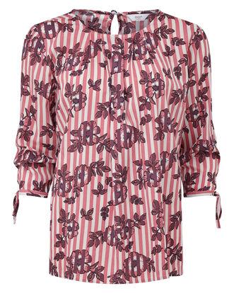 Stripe Floral Tie Sleeve Top