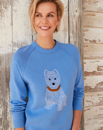 Light Blueberry Cotton Crew Neck Westie Dog Sweater