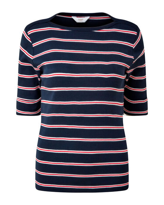 Wrinkle Free 1/2 Sleeve Boat Neck Stripe Top