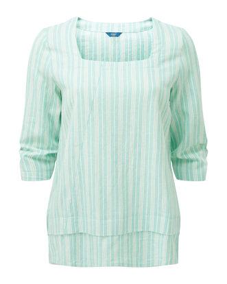 Mint Green Linen-blend Stripe Top