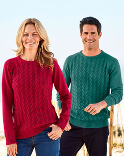 Cotton Cable Crew Neck Sweater