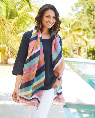 Pleated Stripe Scarf