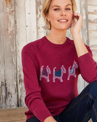 Light Berry Cotton Crew Neck Westie Dog Sweater