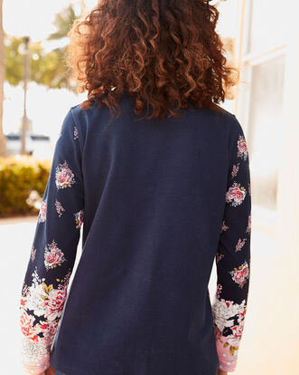 Button Neck Printed Sweatshirt