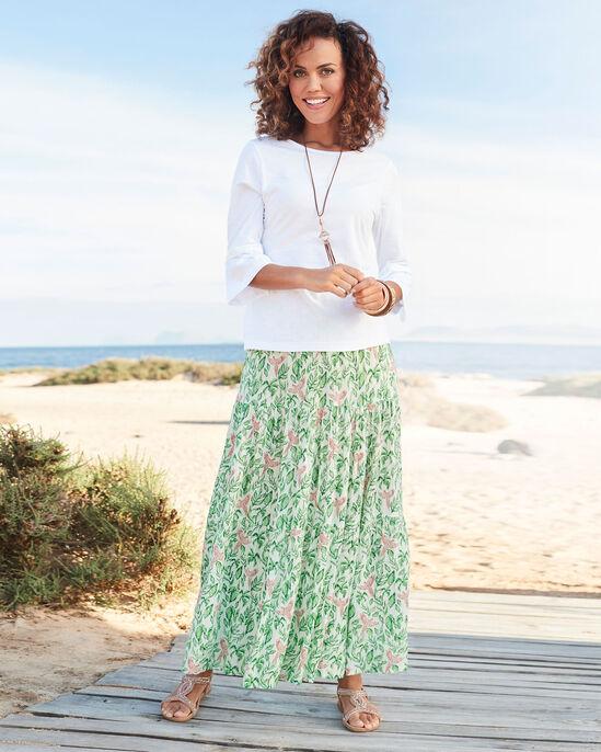 Print Tiered Maxi Skirt