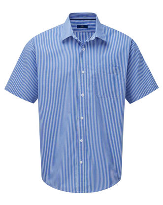 Vibrant Blue Short Sleeve Wrinkle Free Shirt