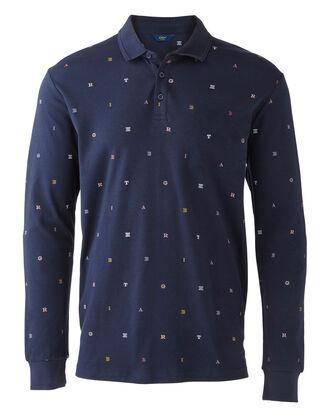 Navy Long Sleeve Jersey Polo Shirt