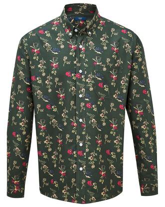 Dark Moss Print Long Sleeve Soft Touch Shirt