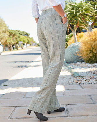 Side Elastic Waist Check Pants