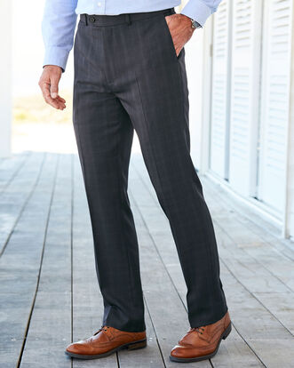 Flat Front Check Comfort Pants
