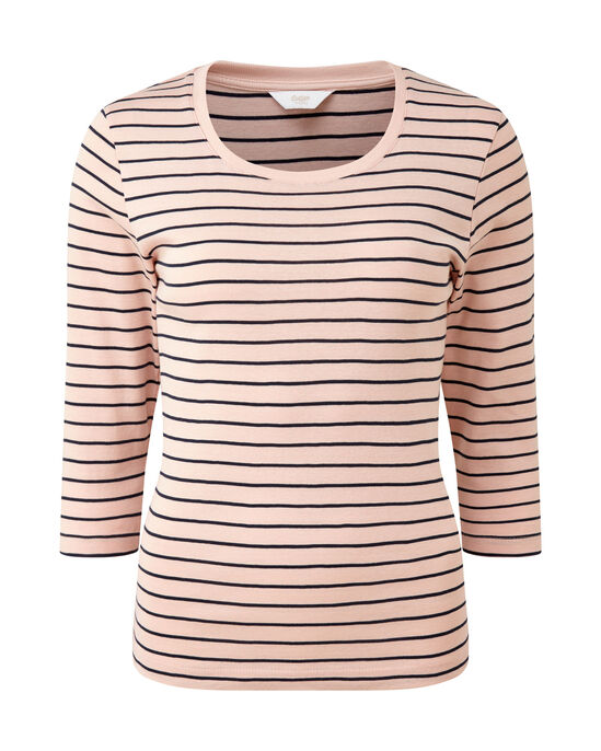 Wrinkle Free 3/4 Sleeve Stripe Scoop Neck Top