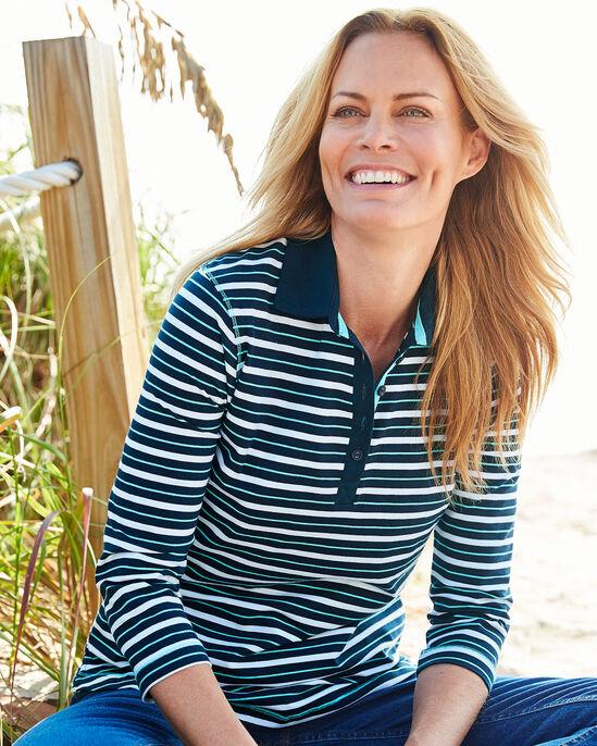 Button Neck Stripe Polo Shirt