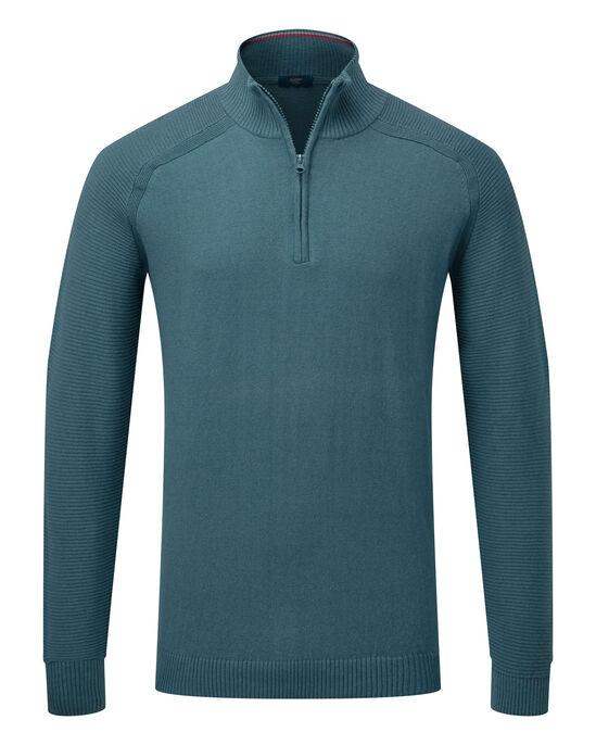 Cotton Cashmere Half Zip Sweater