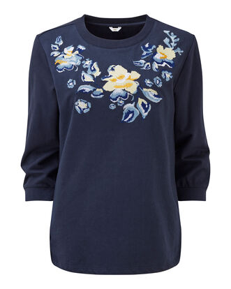 Embroidered Neck Top