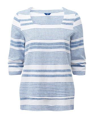 Denim Blue Linen-blend Stripe Top