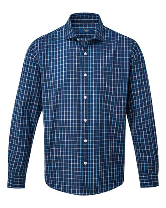Navy Long Sleeve Tattersall Twill Check Shirt