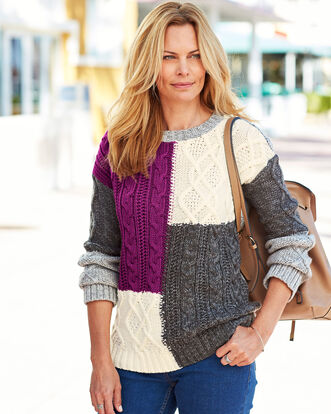 Patchwork Cable Sweater