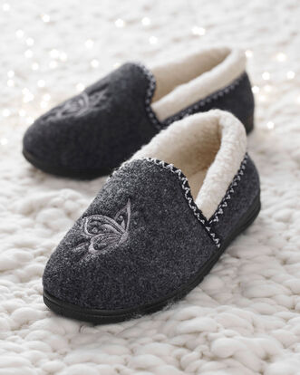 Embroidered Sherpa Lined Slippers