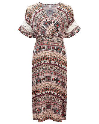 Elephant Print Midi Dress