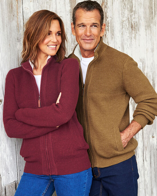 Sherpa Fleece Trim Cardigan