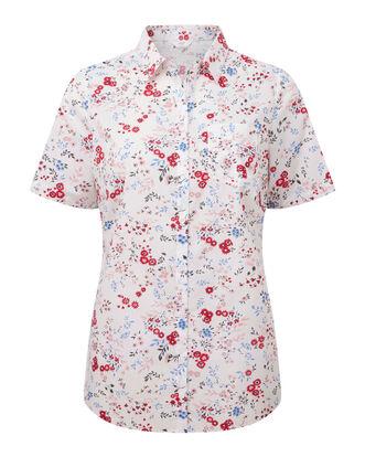 Floral Print Short Sleeve Wrinkle Free Shirt
