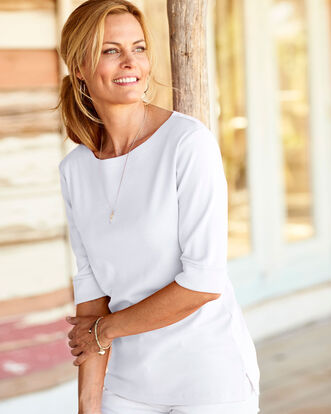 Wrinkle Free Half Sleeve Boat Neck Top